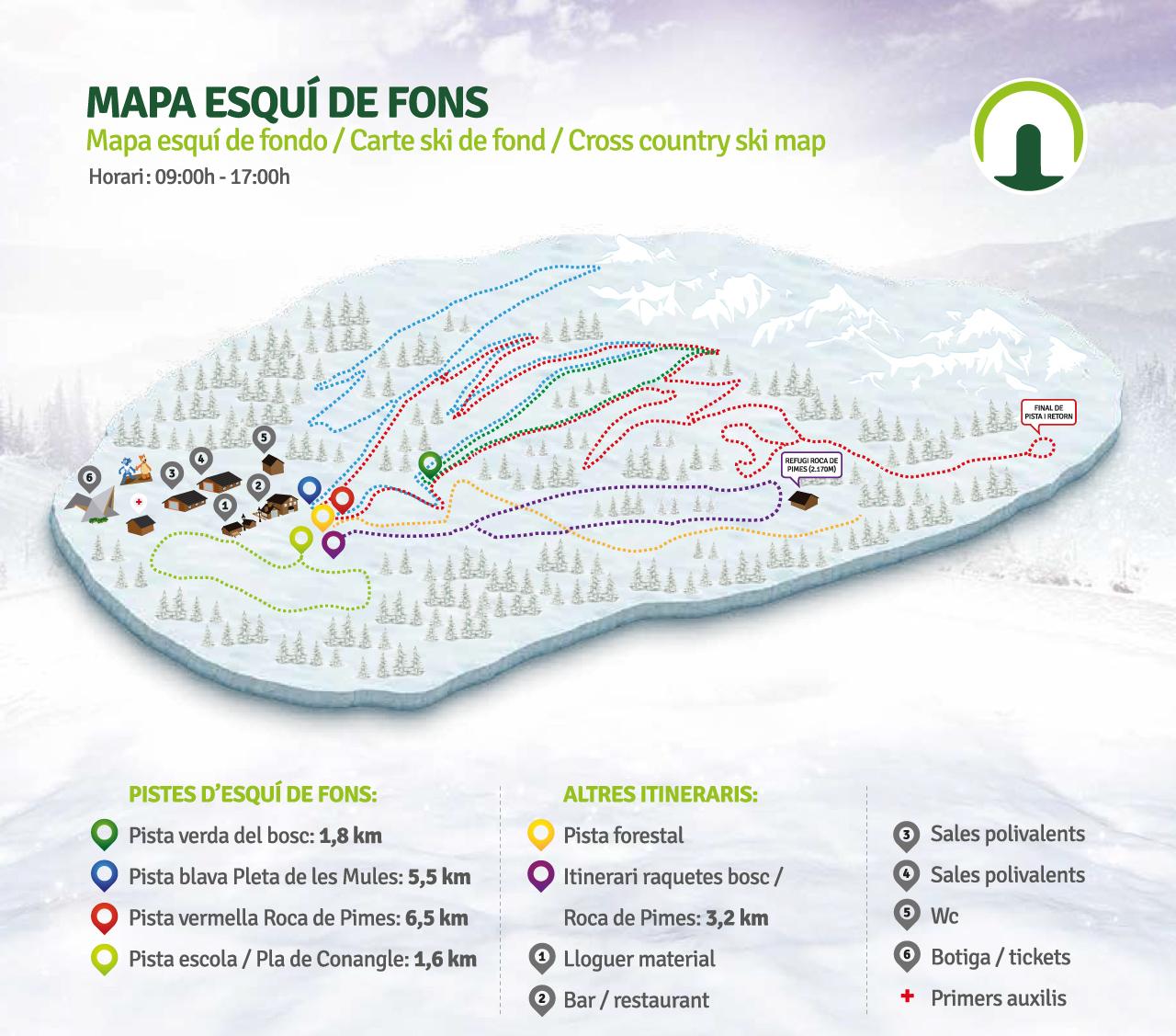 Mapa Esquí de fons Naturlandia